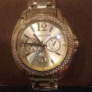 Michael Kors gold watch w/ diamonds (used)